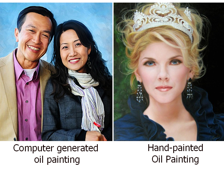 Differences between hand-painted and computer generated oil paintings